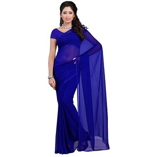 Surupta Royal Blue Color Plain Chiffon Saree