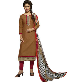 Gerbera Designer Amazing Cotton Brown and Red Designer Salwar Suit