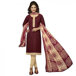 Gerbera Designer Amazing Cotton Marron and Beige Designer Salwar Suit