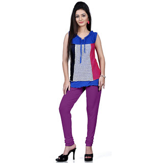 DesiButiks Purple Coloured Cotton Lycra Leggings BBL1023
