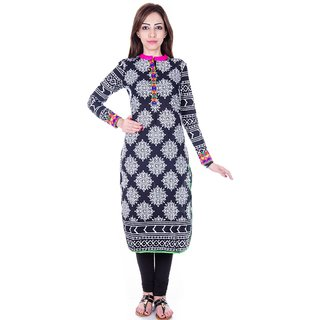 Cotton kurti with gujrati embroidery border