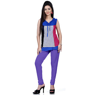 DesiButiks Violet Coloured Cotton Lycra Leggings BBL1028