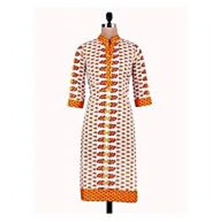 Cotton White And Orange Floral Printed Casual Kurta