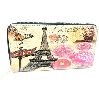 Maison tower and flower print wallet