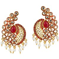 Kriaa Kundan Red Pota Stone Pearl Gold Finish Dangle Earrings
