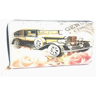 Maison car and flower print wallet