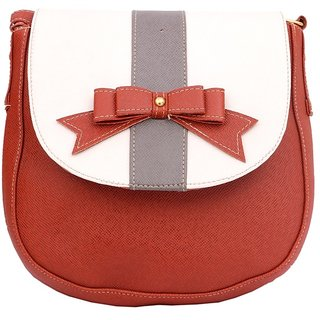Maison Brick Red Color Leatherite  Sling bag
