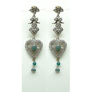 Graceful Emerald Color Victorian Jewelry American Diamond Earring 104