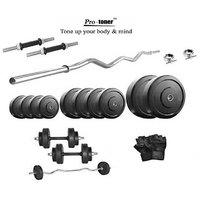 Protoner Rubberised 26 Kg Home Gym Set & Gloves & Dumbells Rods & 3 Ft Ez Bar