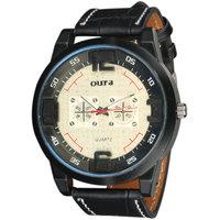 Oura Round Dial Black Leather Strap Quartz Watch For Men