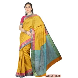 ABHA 302  Bhagalpuri Art Silk Saree with Blouse Piece  yellow  Green party ware
