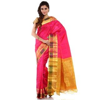 Pink Kanchipuram Pure Silk Saree With Blouse