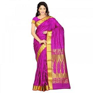 Simrans Kanchipuram Art Silk Rich Zari Pallu Emboss Saree