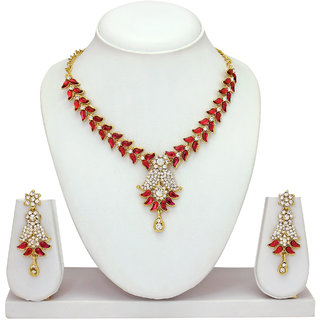 The Jewelbox Gold Plated Pink Brass  Copper Necklace Set For Women