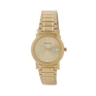 Sonata Round Dial Gold Metal Strap Quartz Watch For Men