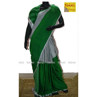 Handloom Silk Cotton Saree Green