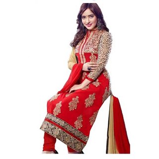 Divisha Fashions Red Faux Georgette Dress Material With Dupatta