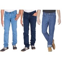 Wajbee Blue Mid Rise Jeans For Mens (Pack Of 3)