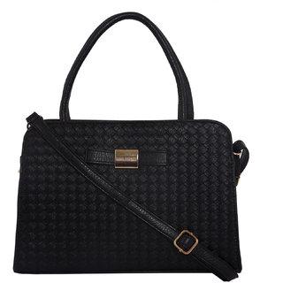 Lino Perros Intricate Leatherite Black Handbag