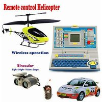 Kids Playing Combo - (R/C Helicopter + R/C Car + Educational  Laptop For Kids + Night Scope Binocular