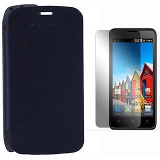 Winchip Flip Cover For Micromax Bolt A35 With Screen Guard - Black SP041