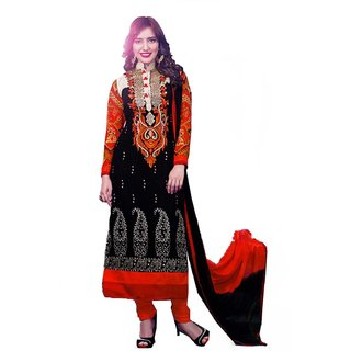 Divisha Fashions Black Faux Georgette Dress Material With Dupatta