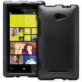 Black Hard Back Cover Case Pouch for HTC Windows 8S