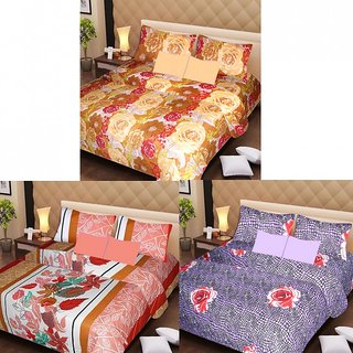 Akash Ganga Beautiful Combo of 3 Double Bedsheets with 6 Pillow Covers (AGK1187)