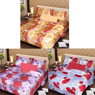 Akash Ganga Beautiful Combo of 3 Double Bedsheets with 6 Pillow Covers (AGK1188)