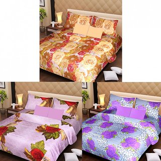 Akash Ganga Beautiful Combo of 3 Double Bedsheets with 6 Pillow Covers (AGK1189)
