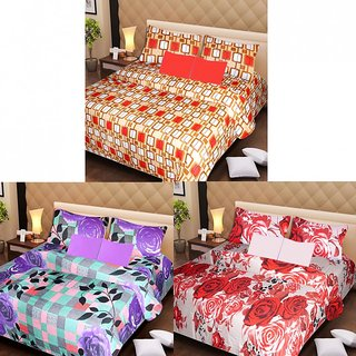 Akash Ganga Beautiful Combo of 3 Double Bedsheets with 6 Pillow Covers (AGK1193)