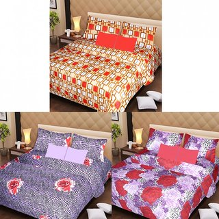Akash Ganga Beautiful Combo of 3 Double Bedsheets with 6 Pillow Covers (AGK1195)