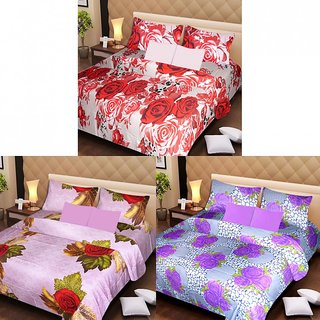 Akash Ganga Beautiful Combo of 3 Double Bedsheets with 6 Pillow Covers (AGK1210)