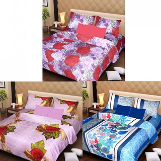 Akash Ganga Beautiful Combo of 3 Double Bedsheets with 6 Pillow Covers (AGK1219)