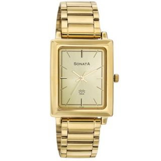Sonata Rectangle Dial Gold Metal Strap Quartz Watch For Men
