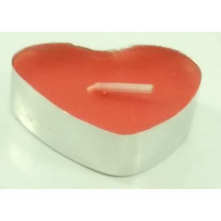 Singh Xpress Heart Shape Wax 3.7 cm Candle with Metal Frame- Red