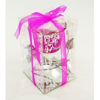 Singh Xpress Premium Gel Candle Stand 10.75 Cm Gel Candle With Glass Bowl On Metal Stand- Pink