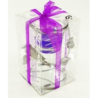 Singh Xpress Premium Gel Candle Stand 10.75 Cm Gel Candle With Glass Bowl On Metal Stand (Combo Of 2)- Purple