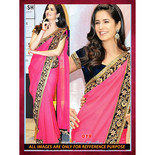 Charming Pink Chiffon Designer Bollywood Saree