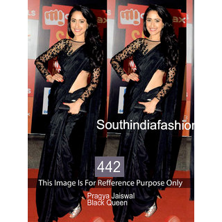Majestic Black Color Sattin Silk Fabric Designer Bollywood  Saree