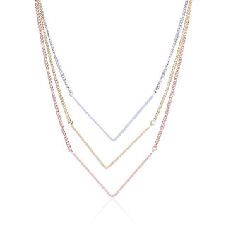 Thingalicious Gold, Silver and Rose Gold Three Tone Cascading Elegance Necklace