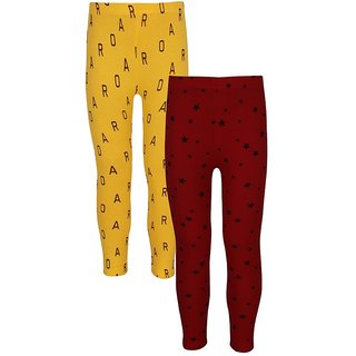 Jazzup Red & Yellow Color Cotton Lycra Pack Of 2 Printed Girls Leggings-(KZ-MKLC1195)