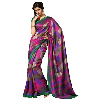 Buy Triveni Checkered Patterned Printed Casualwear Art Silk Saree