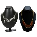 Combo Of Trendy Cz Necklace Set With Twisted Trinket Set D And Y 1018