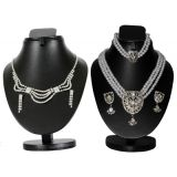 Combo Of Trendy Cz Necklace Set With Silver 3 Row Pearl Set D And Y 1019