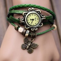 BEST SELL OF Green Leather Strap Watch Hand-knitted Leather Watch Women' Watches