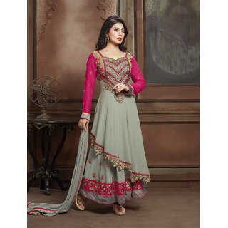 Thankar Grey And Pink Embroidered Georgette Anarkali Suit