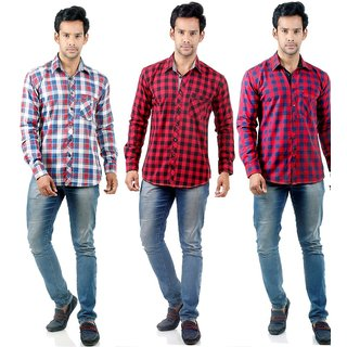 Factorydirect Mens Multicolor Regular Fit Casual Shirt (Pack Of 3)