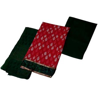 Looks Unstitched Cotton suit Red-Green dress material