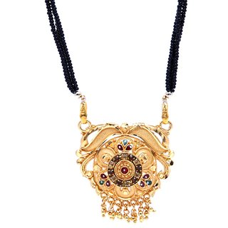GoldPlated Auspicious Traditional Mangalsutra with Chain by GoldNera
